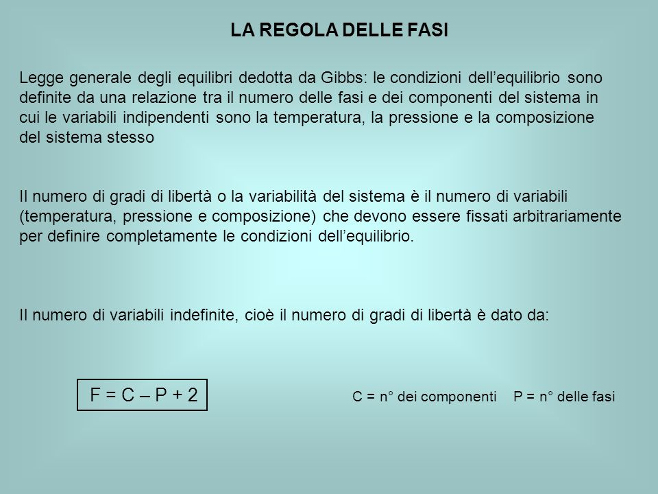 LA REGOLA DELLE FASI Legge generale degli equilibri dedotta da Gibbs: le condizioni dellequilibrio sono definite da una relazione tra il numero delle