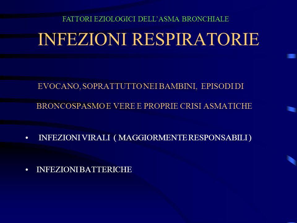 INFEZIONI RESPIRATORIE EVOCANO, SOPRATTUTTO NEI BAMBINI, EPISODI DI BRONCOSPASMO E VERE E PROPRIE CRISI ASMATICHE INFEZIONI VIRALI ( MAGGIORMENTE RESPONSABILI ) INFEZIONI BATTERICHE FATTORI EZIOLOGICI DELLASMA BRONCHIALE