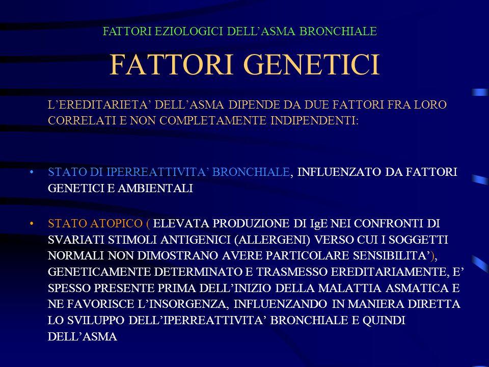 FATTORI GENETICI LEREDITARIETA DELLASMA DIPENDE DA DUE FATTORI FRA LORO CORRELATI E NON COMPLETAMENTE INDIPENDENTI: STATO DI IPERREATTIVITA BRONCHIALE, INFLUENZATO DA FATTORI GENETICI E AMBIENTALI STATO ATOPICO ( ELEVATA PRODUZIONE DI IgE NEI CONFRONTI DI SVARIATI STIMOLI ANTIGENICI (ALLERGENI) VERSO CUI I SOGGETTI NORMALI NON DIMOSTRANO AVERE PARTICOLARE SENSIBILITA), GENETICAMENTE DETERMINATO E TRASMESSO EREDITARIAMENTE, E SPESSO PRESENTE PRIMA DELLINIZIO DELLA MALATTIA ASMATICA E NE FAVORISCE LINSORGENZA, INFLUENZANDO IN MANIERA DIRETTA LO SVILUPPO DELLIPERREATTIVITA BRONCHIALE E QUINDI DELLASMA FATTORI EZIOLOGICI DELLASMA BRONCHIALE