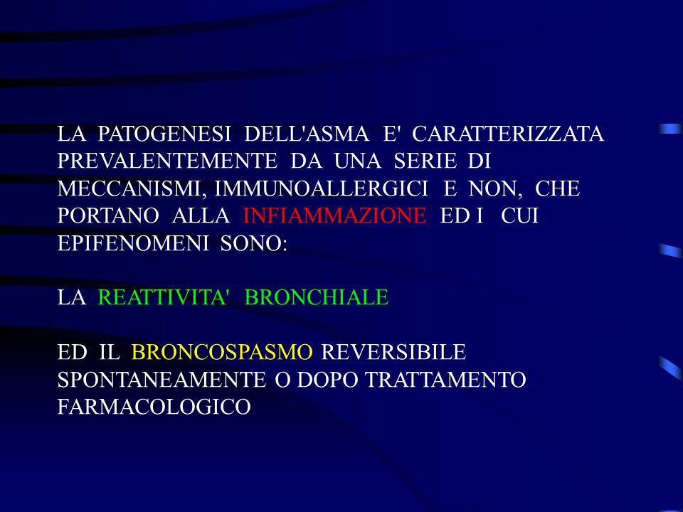 LA PATOGENESI DELL ASMA E CARATTERIZZATA PREVALENTEMENTE DA UNA SERIE DI MECCANISMI, IMMUNOALLERGICI E NON, CHE PORTANO ALLA INFIAMMAZIONE ED I CUI EPIFENOMENI SONO: LA REATTIVITA BRONCHIALE ED IL BRONCOSPASMO REVERSIBILE SPONTANEAMENTE O DOPO TRATTAMENTO FARMACOLOGICO