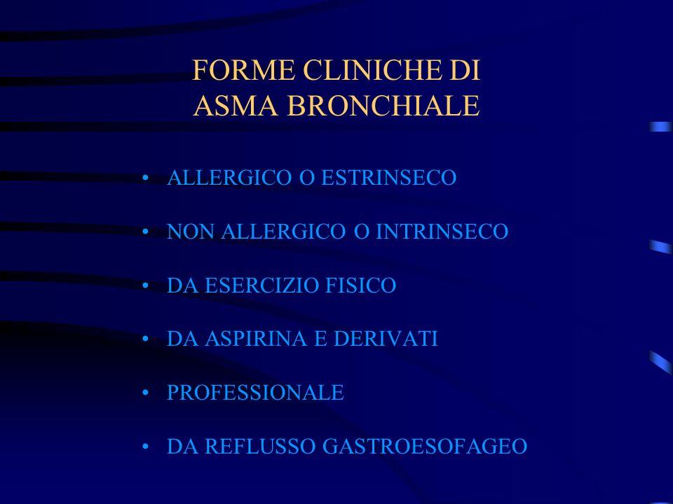 FORME CLINICHE DI ASMA BRONCHIALE ALLERGICO O ESTRINSECO NON ALLERGICO O INTRINSECO DA ESERCIZIO FISICO DA ASPIRINA E DERIVATI PROFESSIONALE DA REFLUS