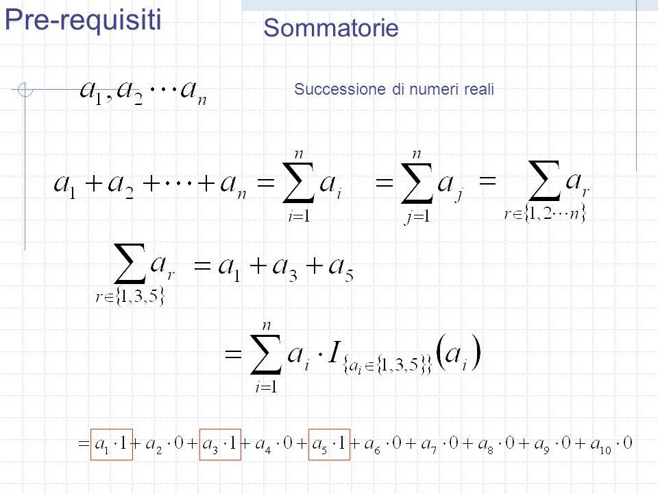 Sommatorie Successione di numeri reali Pre-requisiti