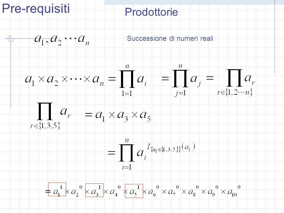 Prodottorie Successione di numeri reali Pre-requisiti