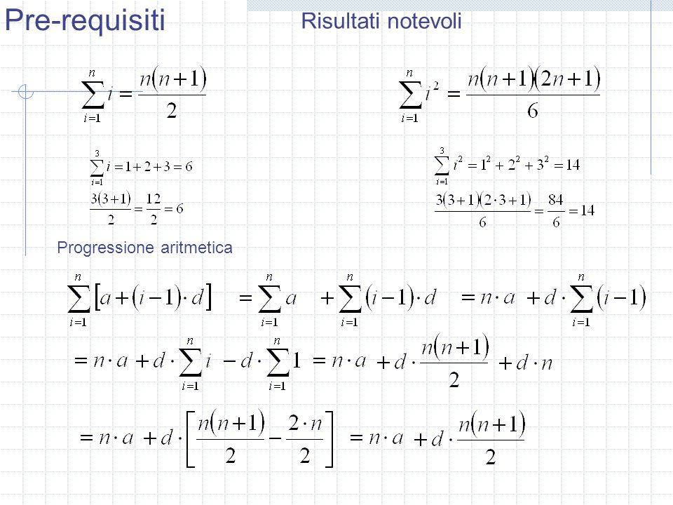 Risultati notevoli Progressione aritmetica