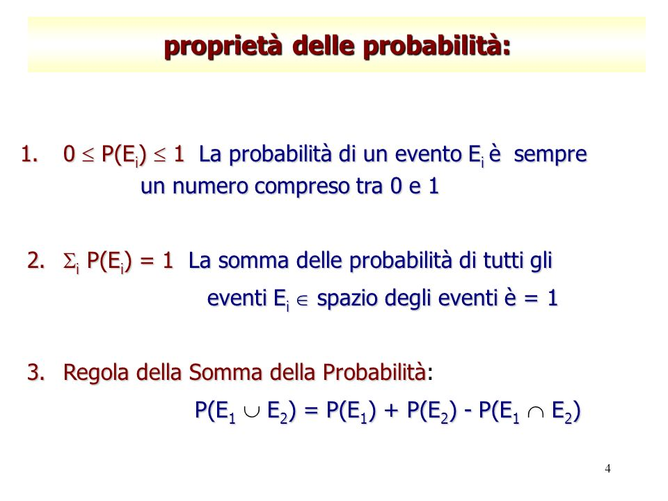 4 proprietà delle probabilità: 1.0 P(E i ) 1La probabilità di un evento E i è sempre un numero compreso tra 0 e 1 1.0 P(E i ) 1 La probabilità di un e