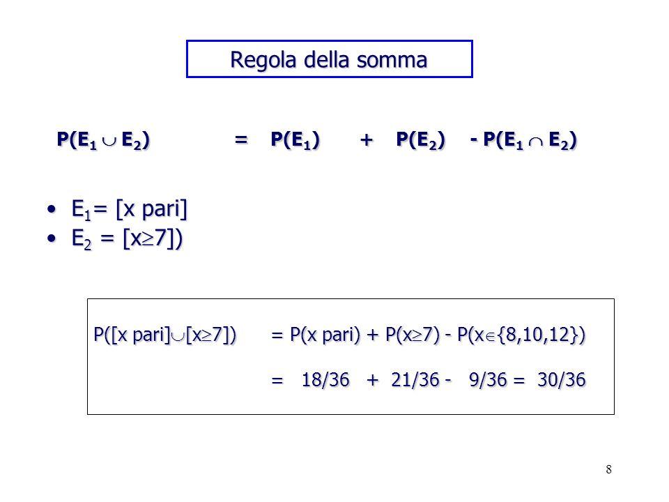 8 Regola della somma E 1 = [x pari]E 1 = [x pari] E 2 = [x 7])E 2 = [x 7]) P([x pari] [x 7]) = P(x pari) + P(x 7) - P(x {8,10,12}) = 18/36 + 21/36 - 9