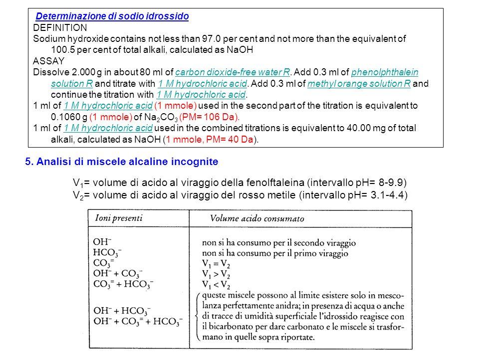 5. Analisi di miscele alcaline incognite V 1 = volume di acido al viraggio della fenolftaleina (intervallo pH= 8-9.9) V 2 = volume di acido al viraggi