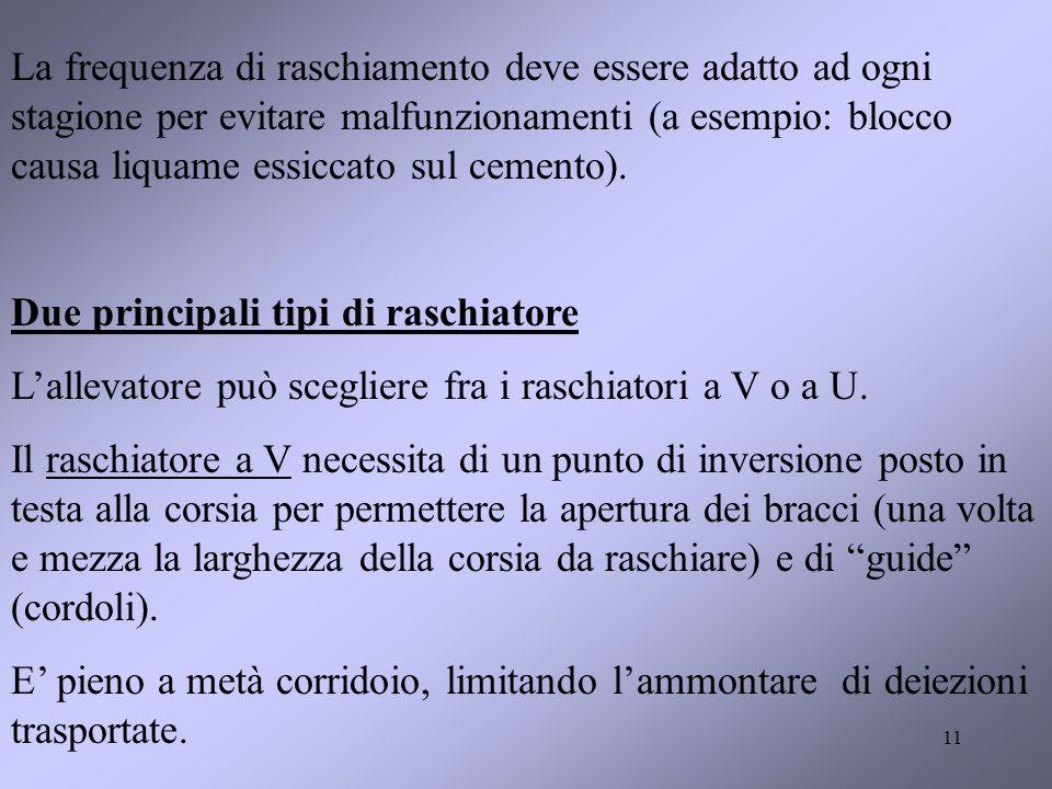 11 La frequenza di raschiamento deve essere adatto ad ogni stagione per evitare malfunzionamenti (a esempio: blocco causa liquame essiccato sul cemento).