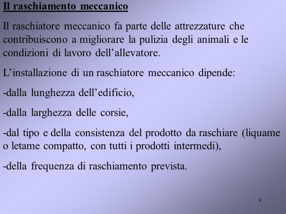 9 Il raschiamento meccanico Il raschiatore meccanico fa parte delle attrezzature che contribuiscono a migliorare la pulizia degli animali e le condizioni di lavoro dellallevatore.