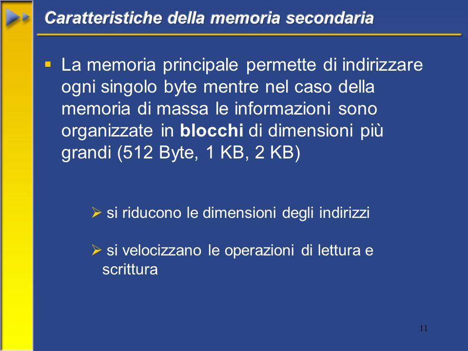 11 La memoria principale permette di indirizzare ogni singolo byte mentre nel caso della memoria di massa le informazioni sono organizzate in blocchi di dimensioni più grandi (512 Byte, 1 KB, 2 KB) si riducono le dimensioni degli indirizzi si velocizzano le operazioni di lettura e scrittura