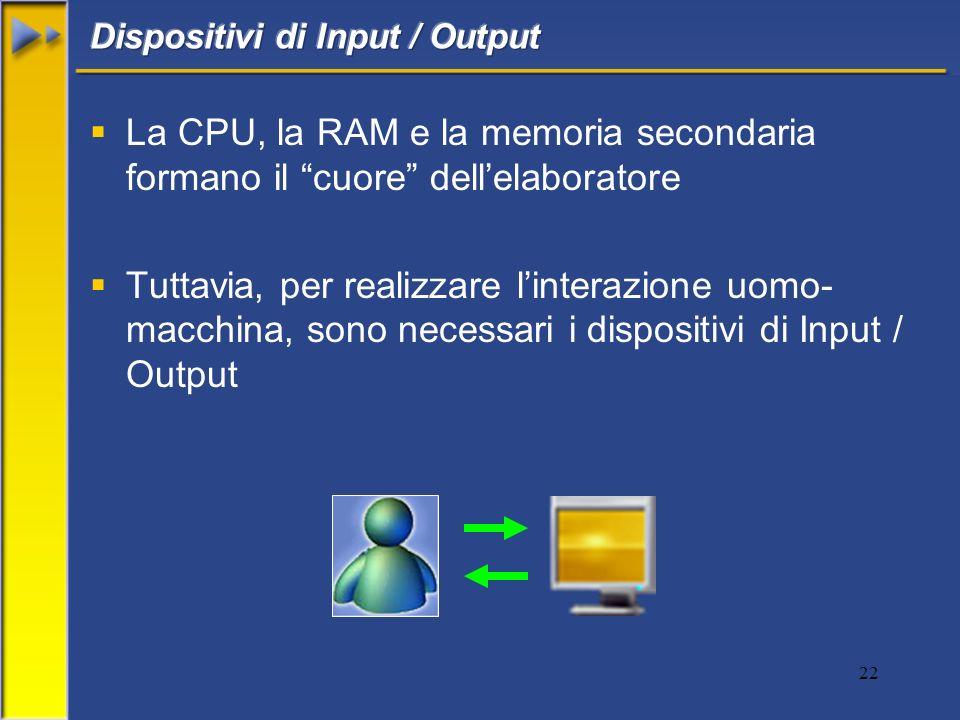 22 La CPU, la RAM e la memoria secondaria formano il cuore dellelaboratore Tuttavia, per realizzare linterazione uomo- macchina, sono necessari i dispositivi di Input / Output