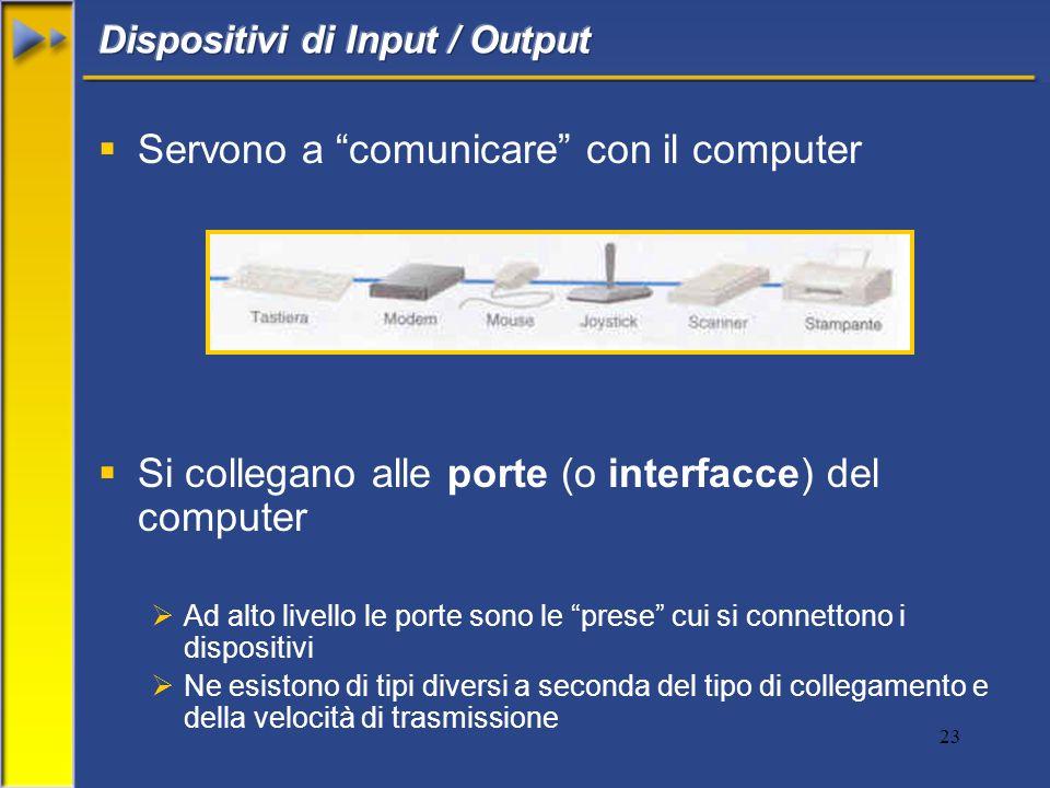 23 Servono a comunicare con il computer Si collegano alle porte (o interfacce) del computer Ad alto livello le porte sono le prese cui si connettono i
