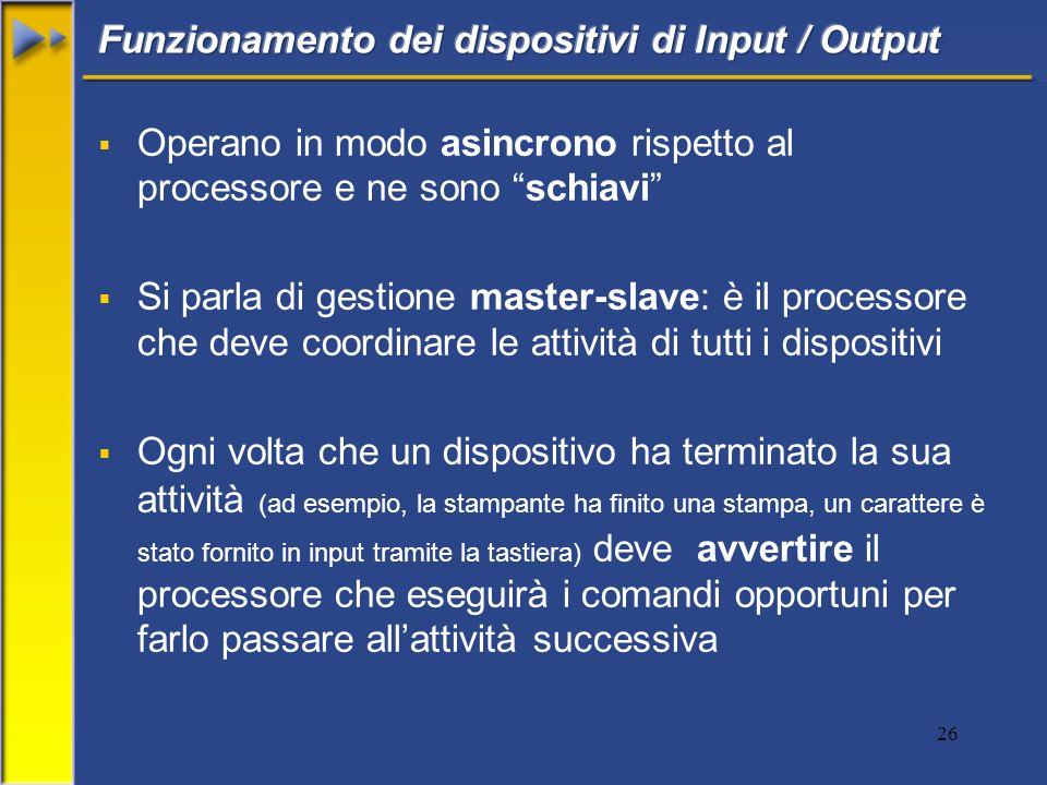 26 Operano in modo asincrono rispetto al processore e ne sono schiavi Si parla di gestione master-slave: è il processore che deve coordinare le attivi
