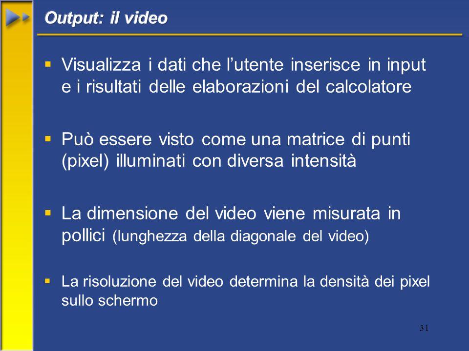 31 Visualizza i dati che lutente inserisce in input e i risultati delle elaborazioni del calcolatore Può essere visto come una matrice di punti (pixel) illuminati con diversa intensità La dimensione del video viene misurata in pollici (lunghezza della diagonale del video) La risoluzione del video determina la densità dei pixel sullo schermo
