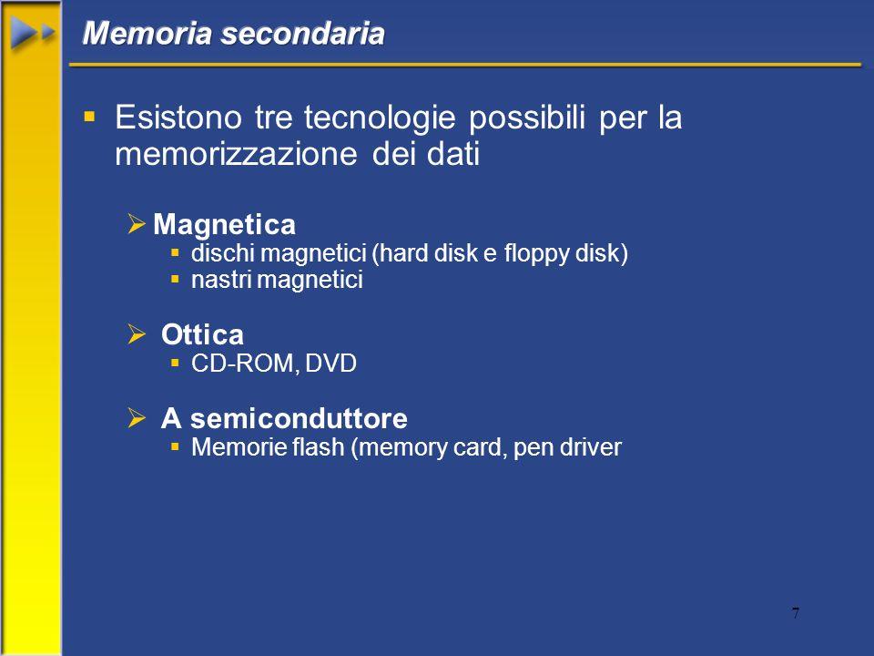 7 Esistono tre tecnologie possibili per la memorizzazione dei dati Magnetica dischi magnetici (hard disk e floppy disk) nastri magnetici Ottica CD-ROM, DVD A semiconduttore Memorie flash (memory card, pen driver