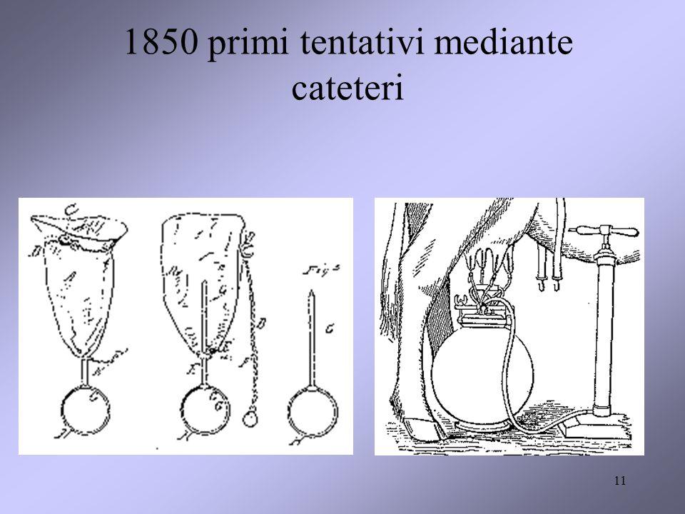 11 1850 primi tentativi mediante cateteri