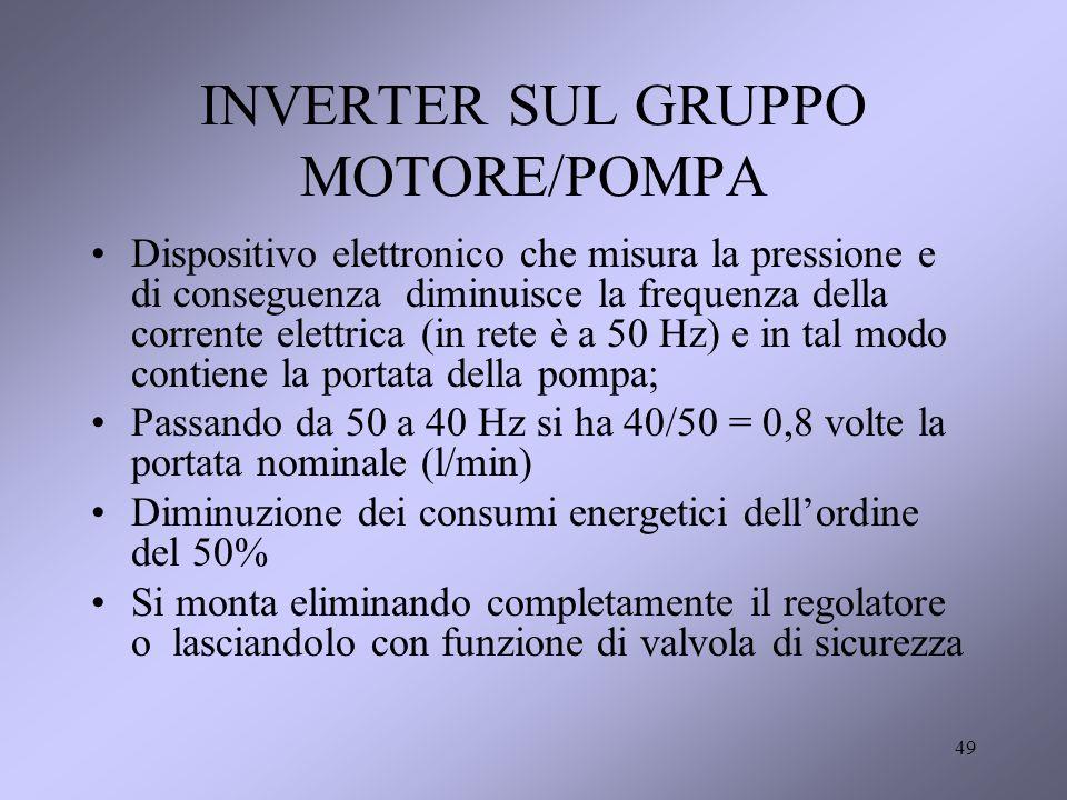 49 INVERTER SUL GRUPPO MOTORE/POMPA Dispositivo elettronico che misura la pressione e di conseguenza diminuisce la frequenza della corrente elettrica