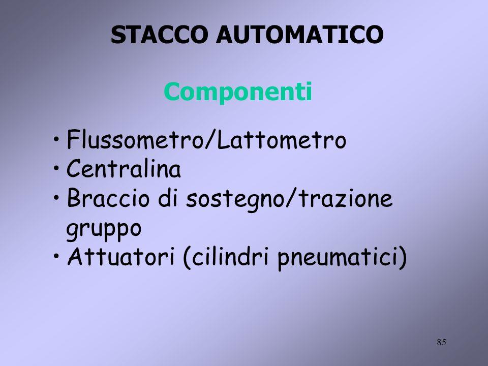 85 STACCO AUTOMATICO Componenti Flussometro/Lattometro Centralina Braccio di sostegno/trazione gruppo Attuatori (cilindri pneumatici)