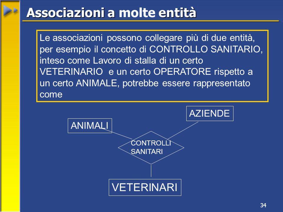 34 Associazioni a entità Associazioni a molte entità ANIMALI AZIENDE VETERINARI CONTROLLI SANITARI Le associazioni possono collegare più di due entità, per esempio il concetto di CONTROLLO SANITARIO, inteso come Lavoro di stalla di un certo VETERINARIO e un certo OPERATORE rispetto a un certo ANIMALE, potrebbe essere rappresentato come