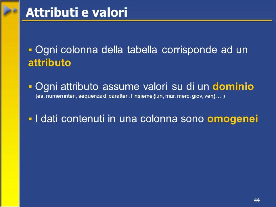 44 Ogni colonna della tabella corrisponde ad un attributo Ogni attributo assume valori su di un dominio (es. numeri interi, sequenza di caratteri, lin