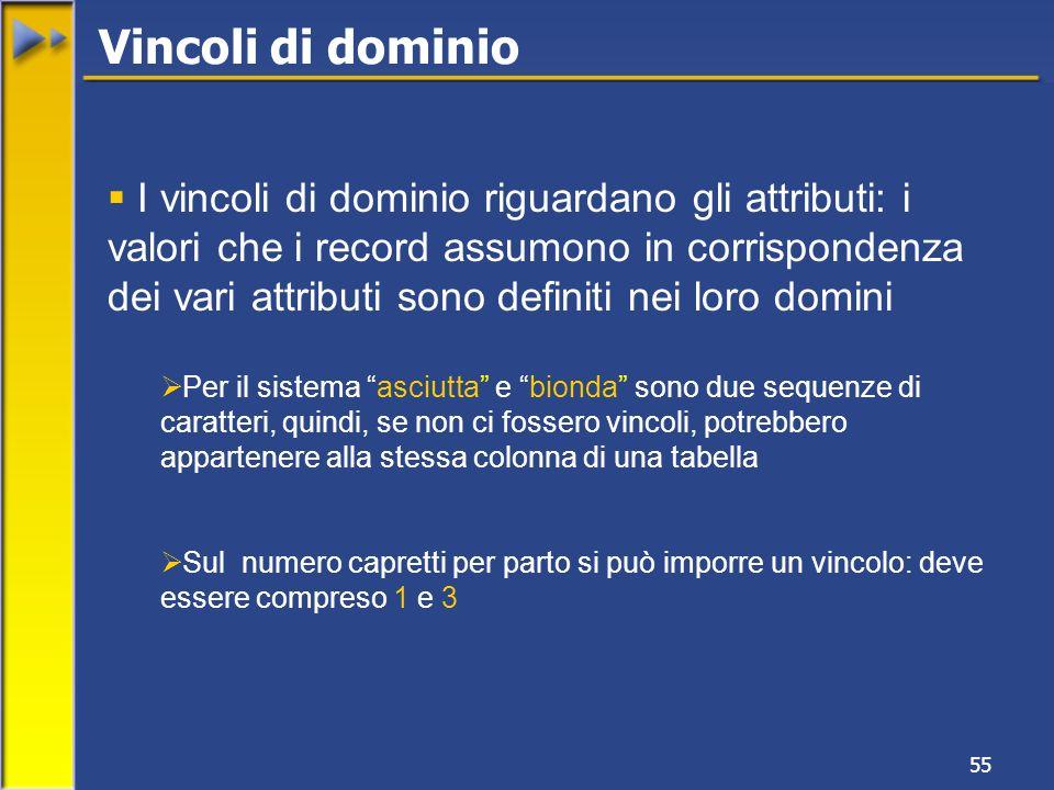 55 I vincoli di dominio riguardano gli attributi: i valori che i record assumono in corrispondenza dei vari attributi sono definiti nei loro domini Pe