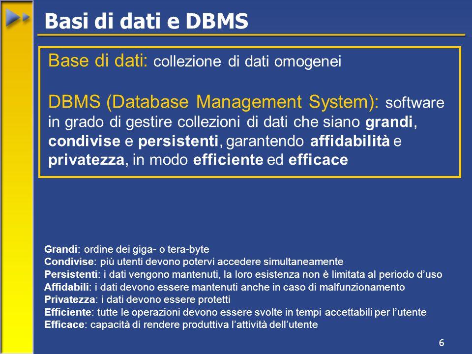 6 Base di dati: collezione di dati omogenei DBMS (Database Management System): software in grado di gestire collezioni di dati che siano grandi, condivise e persistenti, garantendo affidabilità e privatezza, in modo efficiente ed efficace Grandi: ordine dei giga- o tera-byte Condivise: più utenti devono potervi accedere simultaneamente Persistenti: i dati vengono mantenuti, la loro esistenza non è limitata al periodo duso Affidabili: i dati devono essere mantenuti anche in caso di malfunzionamento Privatezza: i dati devono essere protetti Efficiente: tutte le operazioni devono essere svolte in tempi accettabili per lutente Efficace: capacità di rendere produttiva lattività dellutente Basi di dati e DBMS