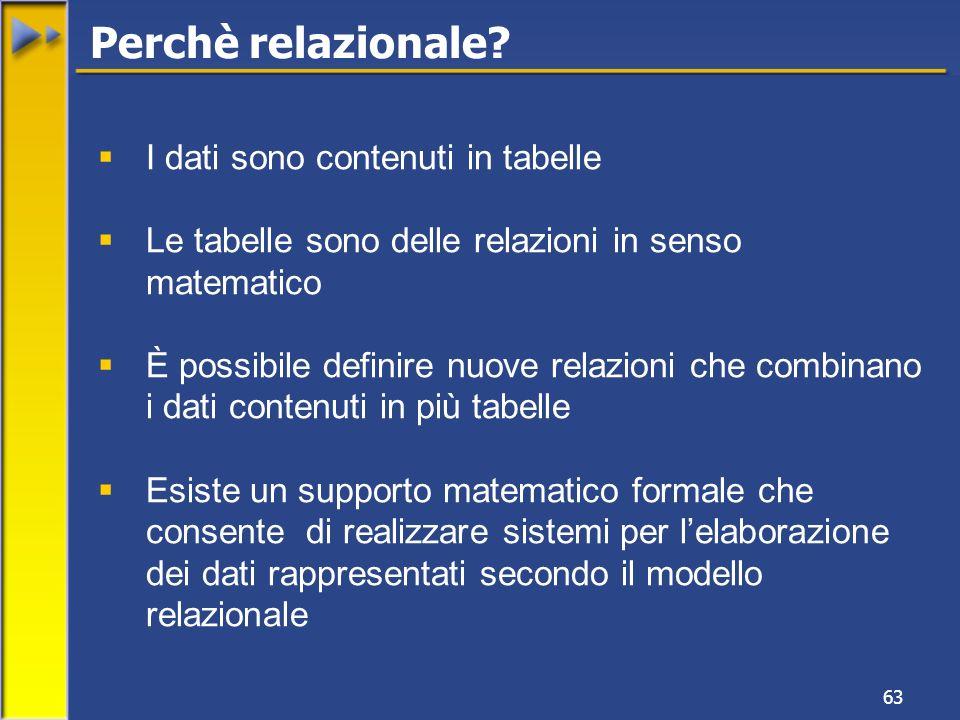 63 Perchè relazionale? I dati sono contenuti in tabelle Le tabelle sono delle relazioni in senso matematico È possibile definire nuove relazioni che c