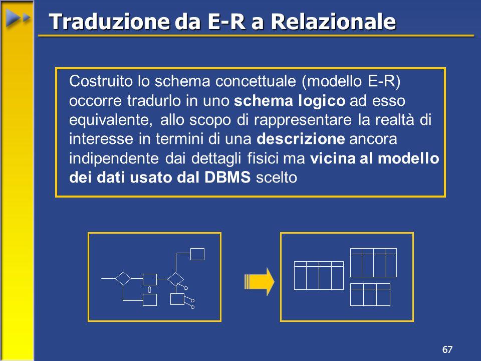 67 Traduzione da E-R a Relazionale Costruito lo schema concettuale (modello E-R) occorre tradurlo in uno schema logico ad esso equivalente, allo scopo di rappresentare la realtà di interesse in termini di una descrizione ancora indipendente dai dettagli fisici ma vicina al modello dei dati usato dal DBMS scelto