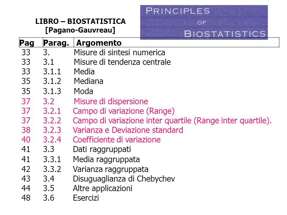 LIBRO – BIOSTATISTICA [Pagano-Gauvreau] PagParag. Argomento 333.Misure di sintesi numerica 333.1Misure di tendenza centrale 333.1.1Media 353.1.2Median
