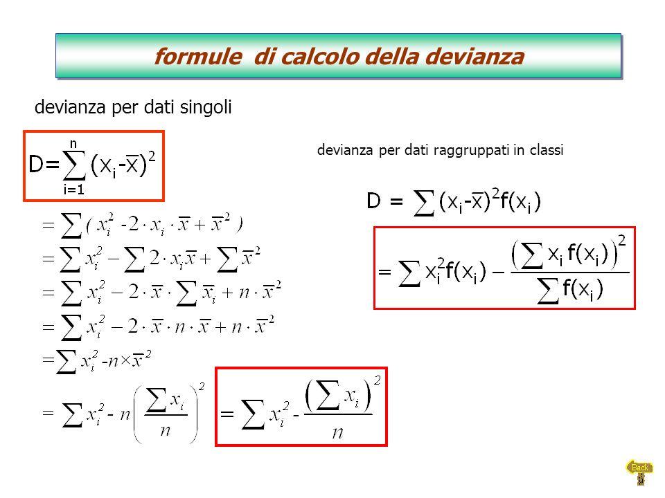 devianza per dati raggruppati in classi devianza per dati singoli formule di calcolo della devianza formule di calcolo della devianza