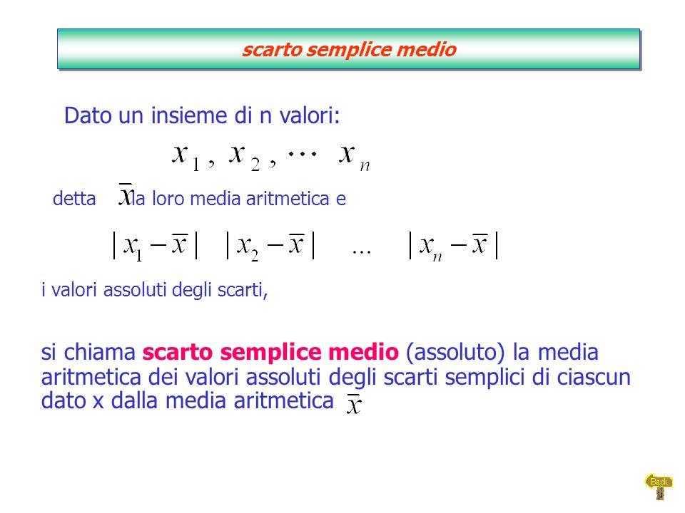 i valori assoluti degli scarti, Dato un insieme di n valori: detta la loro media aritmetica e si chiama scarto semplice medio (assoluto) la media arit