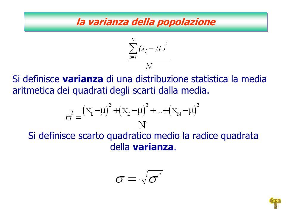 Si definisce varianza di una distribuzione statistica la media aritmetica dei quadrati degli scarti dalla media. Si definisce scarto quadratico medio