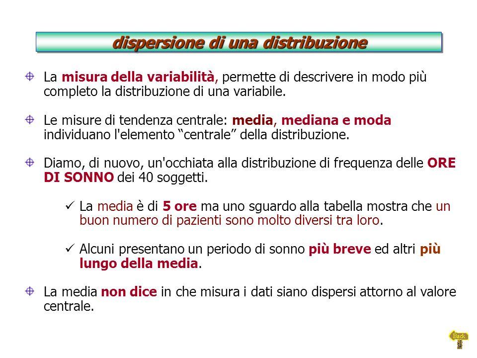 La misura della variabilità, permette di descrivere in modo più completo la distribuzione di una variabile. Le misure di tendenza centrale: media, med