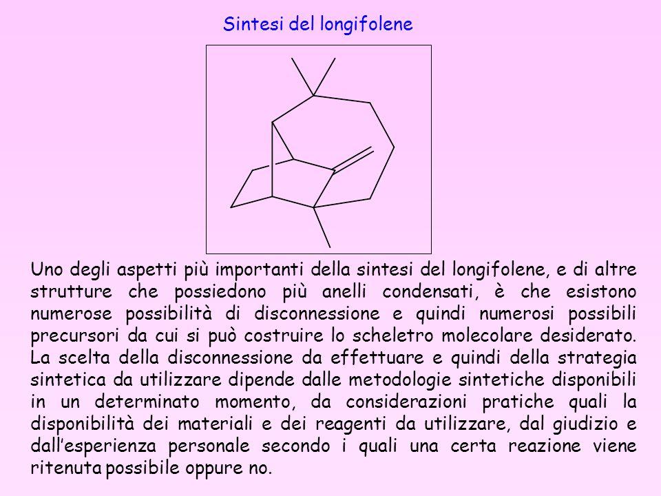 Sintesi del longifolene Uno degli aspetti più importanti della sintesi del longifolene, e di altre strutture che possiedono più anelli condensati, è c
