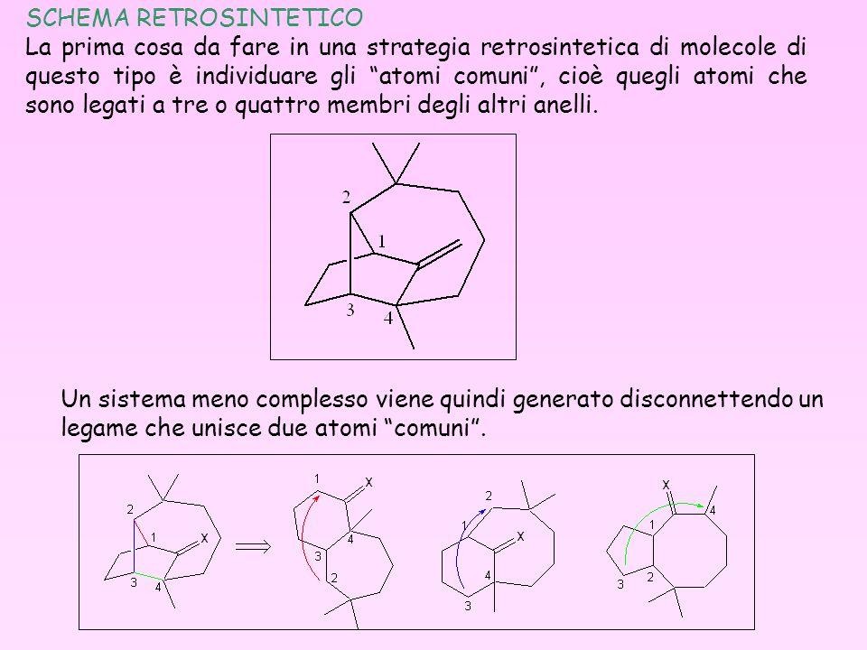 SCHEMA RETROSINTETICO La prima cosa da fare in una strategia retrosintetica di molecole di questo tipo è individuare gli atomi comuni, cioè quegli ato