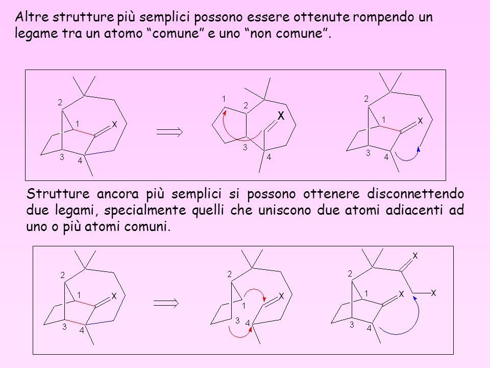 Strutture ancora più semplici si possono ottenere disconnettendo due legami, specialmente quelli che uniscono due atomi adiacenti ad uno o più atomi c