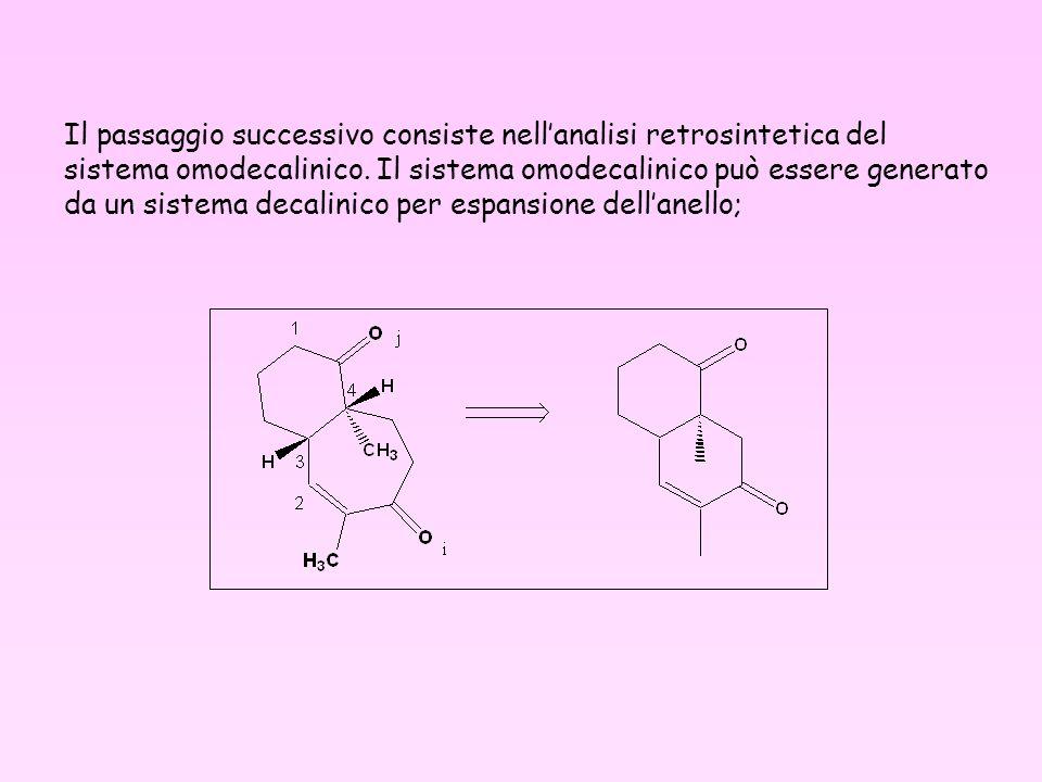 Il passaggio successivo consiste nellanalisi retrosintetica del sistema omodecalinico. Il sistema omodecalinico può essere generato da un sistema deca