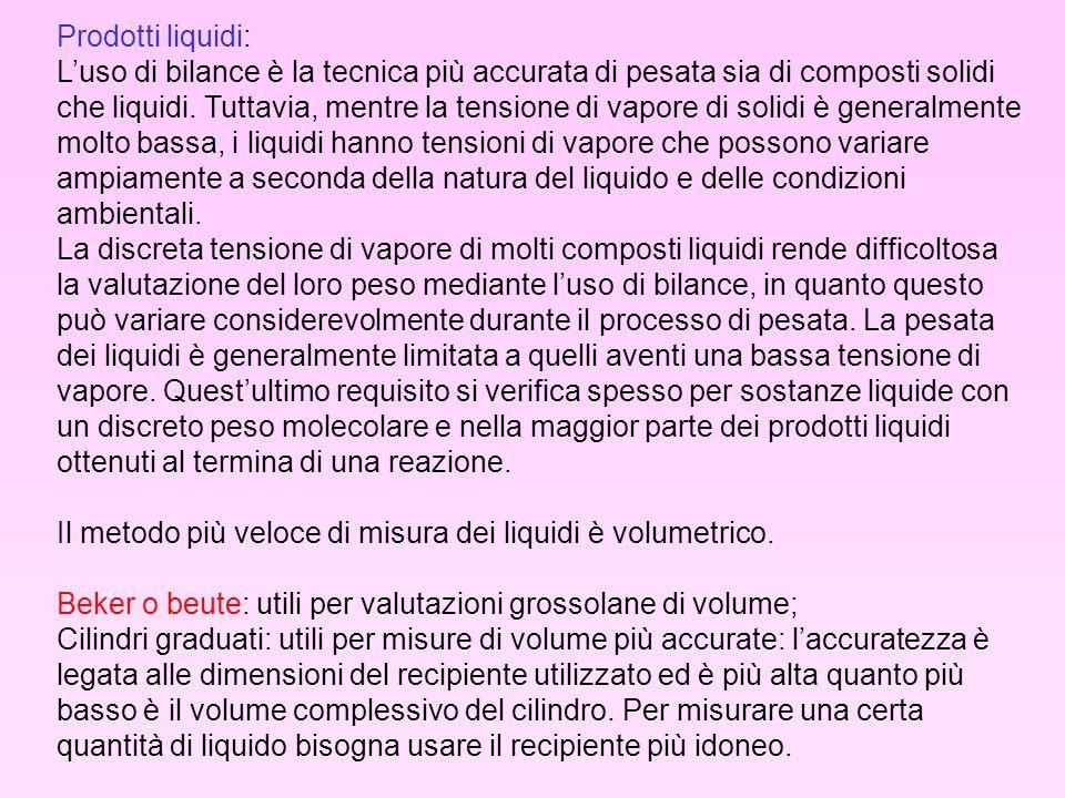 Prodotti liquidi: Luso di bilance è la tecnica più accurata di pesata sia di composti solidi che liquidi. Tuttavia, mentre la tensione di vapore di so