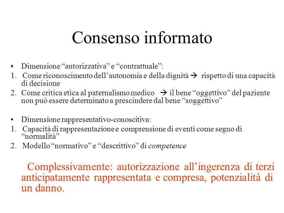 Consenso informato Dimensione autorizzativa e contrattuale: 1.