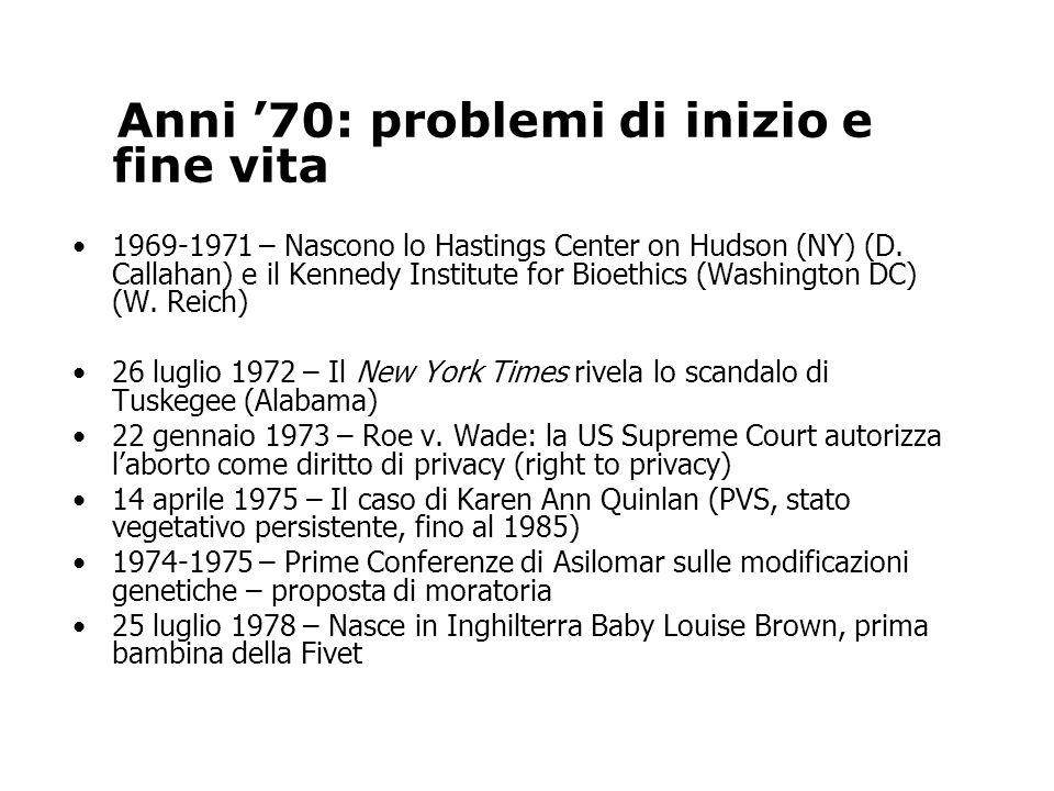 Anni 70: problemi di inizio e fine vita 1969-1971 – Nascono lo Hastings Center on Hudson (NY) (D.