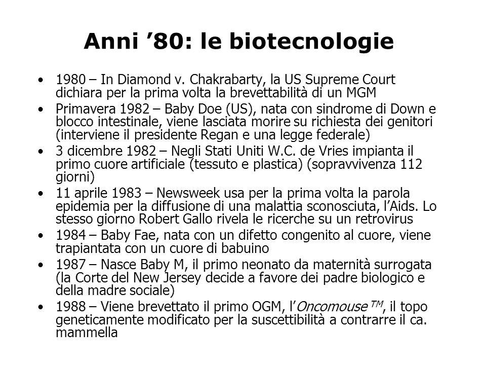 Anni 80: le biotecnologie 1980 – In Diamond v.