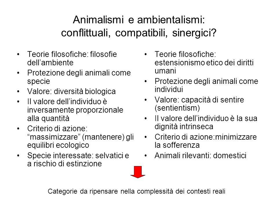 Animalismi e ambientalismi: conflittuali, compatibili, sinergici? Teorie filosofiche: filosofie dellambiente Protezione degli animali come specie Valo