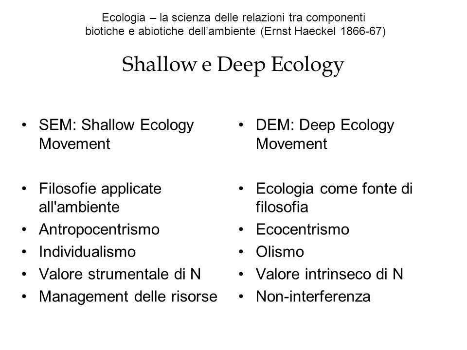Ecologia – la scienza delle relazioni tra componenti biotiche e abiotiche dellambiente (Ernst Haeckel 1866-67) Shallow e Deep Ecology SEM: Shallow Eco