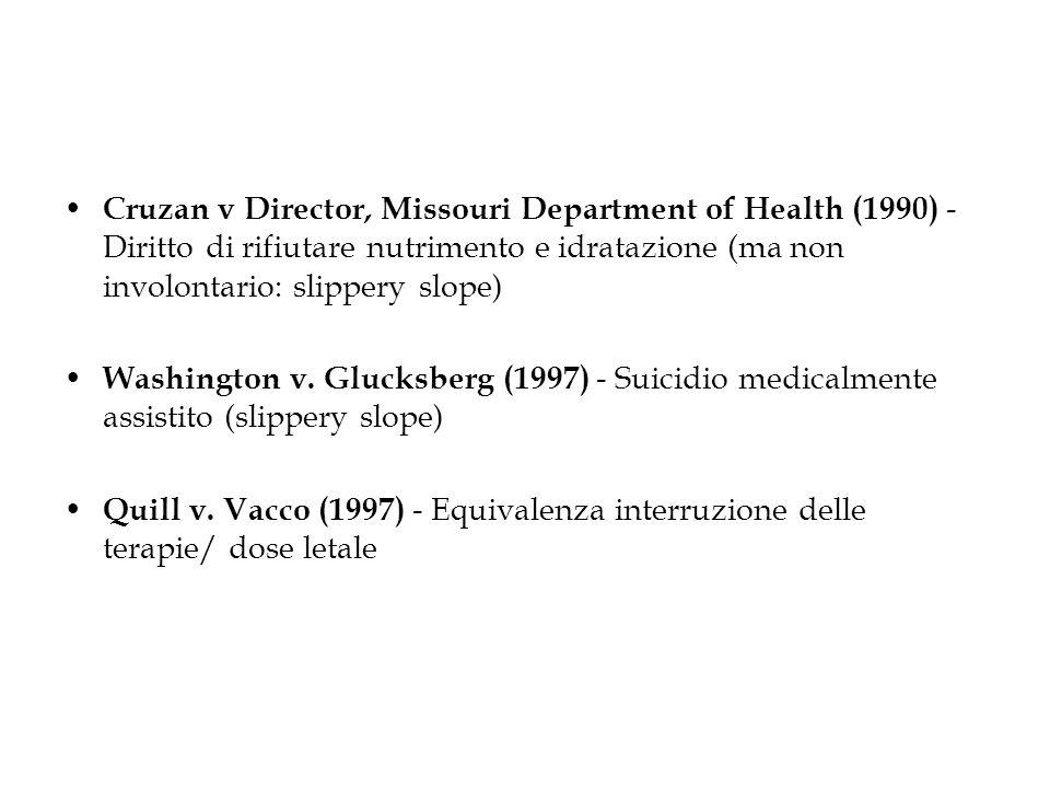 Cruzan v Director, Missouri Department of Health (1990) - Diritto di rifiutare nutrimento e idratazione (ma non involontario: slippery slope) Washingt