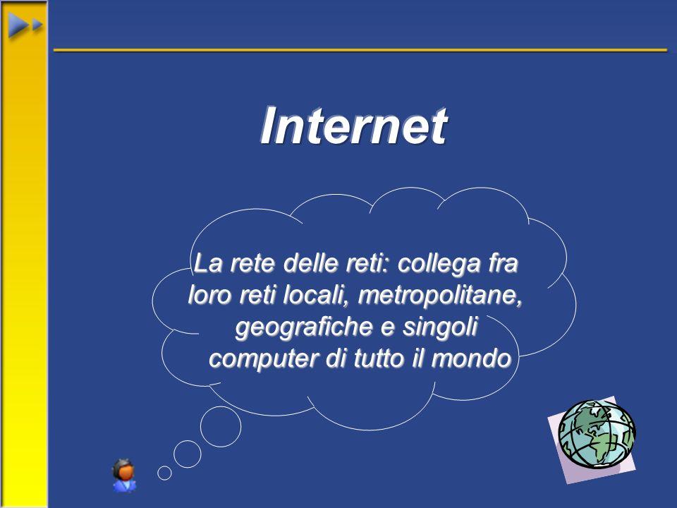 La rete delle reti: collega fra loro reti locali, metropolitane, geografiche e singoli computer di tutto il mondo
