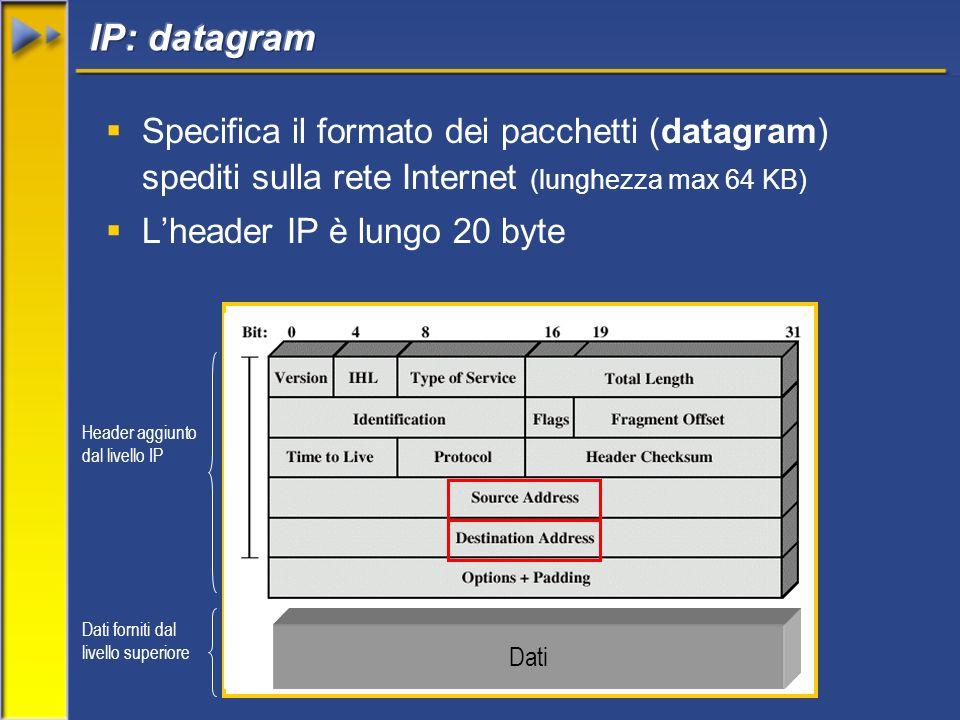 Specifica il formato dei pacchetti (datagram) spediti sulla rete Internet (lunghezza max 64 KB) Lheader IP è lungo 20 byte Dati Dati forniti dal livello superiore Header aggiunto dal livello IP