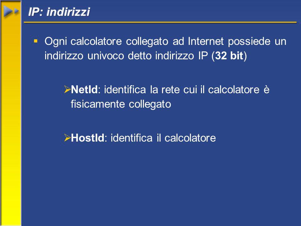 Ogni calcolatore collegato ad Internet possiede un indirizzo univoco detto indirizzo IP (32 bit) NetId: identifica la rete cui il calcolatore è fisicamente collegato HostId: identifica il calcolatore