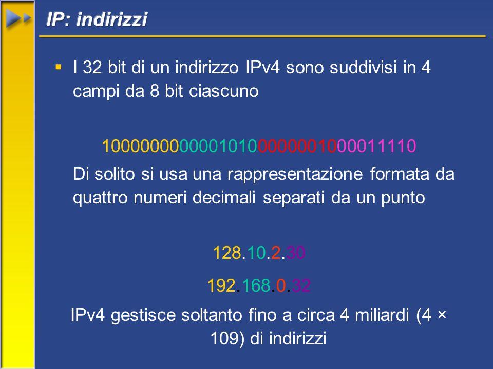 I 32 bit di un indirizzo IPv4 sono suddivisi in 4 campi da 8 bit ciascuno 10000000000010100000001000011110 Di solito si usa una rappresentazione formata da quattro numeri decimali separati da un punto 128.10.2.30 192.