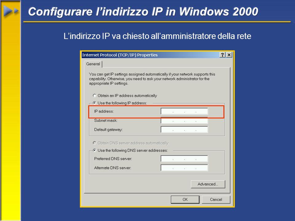 Lindirizzo IP va chiesto allamministratore della rete