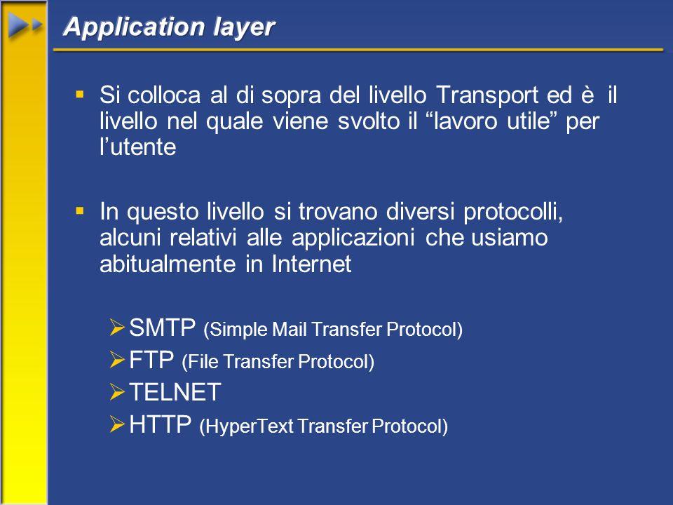 Si colloca al di sopra del livello Transport ed è il livello nel quale viene svolto il lavoro utile per lutente In questo livello si trovano diversi protocolli, alcuni relativi alle applicazioni che usiamo abitualmente in Internet SMTP (Simple Mail Transfer Protocol) FTP (File Transfer Protocol) TELNET HTTP (HyperText Transfer Protocol)